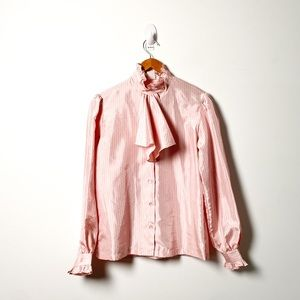 Vintage Blush Pink Pussy Bow Blouse Top